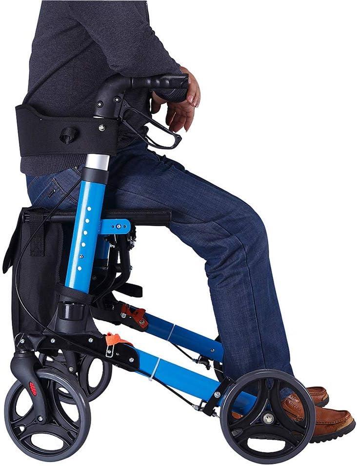 YC Andador con Ruedas para Ancianos, con Asiento con Ruedas de 4 Ruedas con Frenos, Canasta, Frenos ergonómicos y Respaldo Acolchado, paragüero y Bolsa de Almacenamiento extraíble