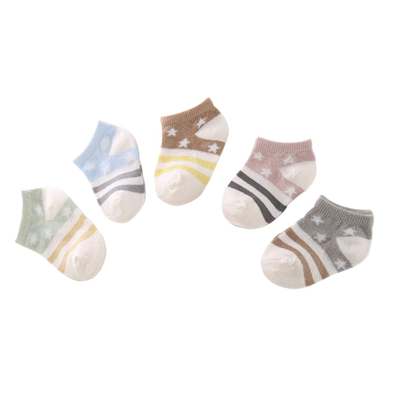 DEBAIJIA 5 Pairs Set Baby Coton Grip Ankle Socks Low Cut Invisible Short Socks for Toddler Kids 0-5 Years Old Soft Breathable Boys Girls Socks for Spring Summer Autum