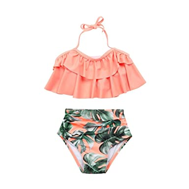 761d23e3d5fad Sixcup for 2-6 Years Old Girls Summer Ruffles Tropical Print Swimwear Kids  Split Nylon Two-Piece Swimsuit Bikini Set Swimming Costume Bathing Suits  Pink: ...