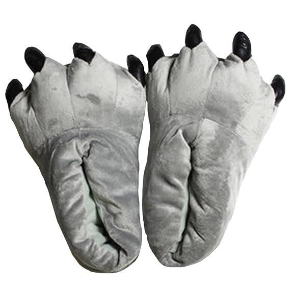 bb3723e23d943 Casa Pantoufle en peluche unisexe Chaussons de patte Chaussons de coton  drôles d hiver chaussures de dessin animé 3D taille 40-44  Amazon.fr   Vêtements et ...