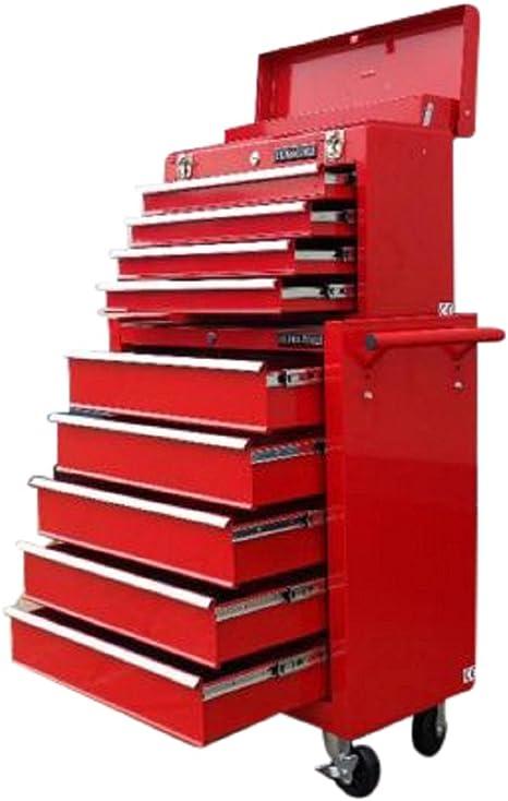 rouge Servante datelier sur roulettes avec 9 tiroirs coulissants US PRO TOOLS