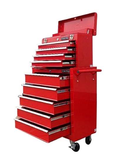 133 US PRO TOOLS Caja de herramientas roja, armario con ruedas para herramientas (9