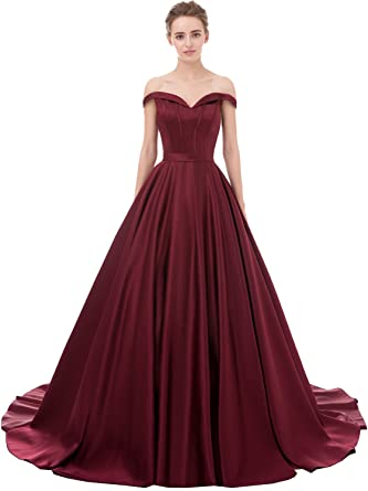 2d8c5501721 EverLove Prom Dresses Sweep Off-Shoulder V-Neck Satin Long Evening Gown  Burgundy US2