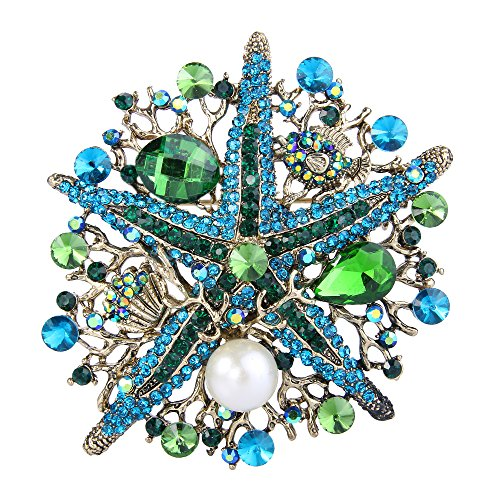 EVER FAITH Austrian Crystal Vintage Style Simulated Pearl Starfish Brooch Green (Fish Brooch)