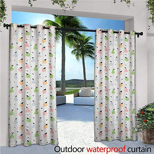 familytaste Pastel Indoor/Outdoor Single Panel Print Window Curtain Grunge Pattern with Colorful Apples Pears and Leaves Sweet and Tasty Summer Fruits Silver Grommet Top Drape W96 x L96 Multicolor