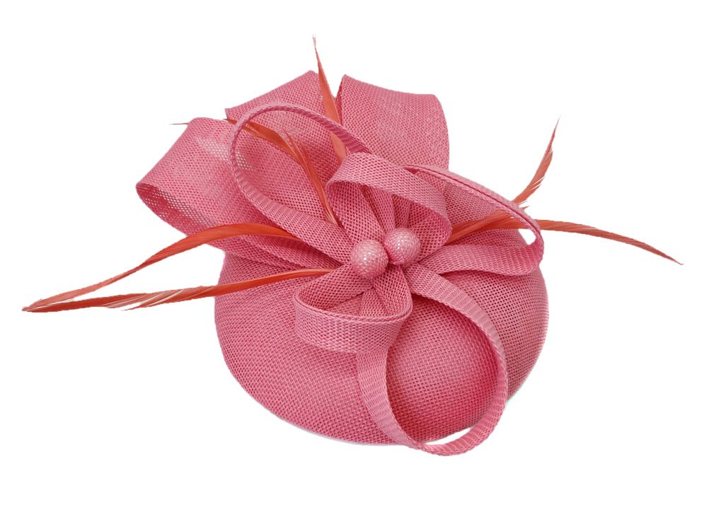 Ahugehome Fascinator Headband Hair Clip Feather Pillbox Hat Mesh Cocktail Party Wedding (KL Pink)