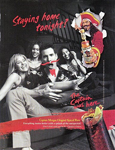 MAGAZINE AD For Captain Morgan's Rum Staying Home Tonight Moustache ()