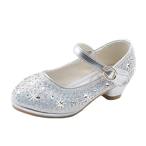 8095d3457ad8 Yy.f YYF Enfant Fille Ballerine Plat Modele Simple avec Paillettes  Princesse Chaussure Boucle