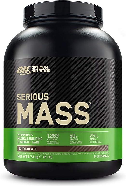 Optimum Nutrition Serious Mass Proteina en Polvo, Mass Gainer Alto en Proteína, con Vitaminas, Creatina y Glutamina, Chocolate, 8 Porciones, 2,73kg, ...