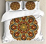 Oriental Duvet Cover Set King Size by Lunarable, Eastern Mandala with Circular Arabesque Design Round Ornate Asian Mehndi Pattern, Decorative 3 Piece Bedding Set with 2 Pillow Shams, Multicolor