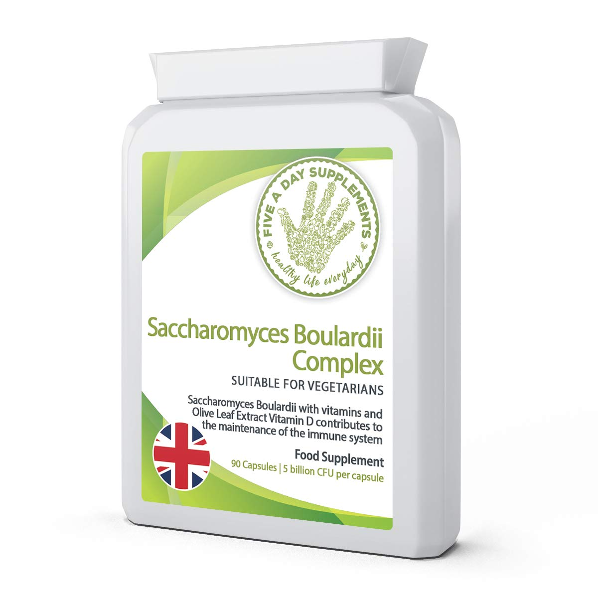 FIVE A DAY SUPPLEMENTS Saccharomyces Boulardii Complex 5 Billion CFU per Capsule - 90 Capsules - Probiotic - Added Olive Leaf Extract, Vitamin D3 and Biotin - Suitable for Vegetarian