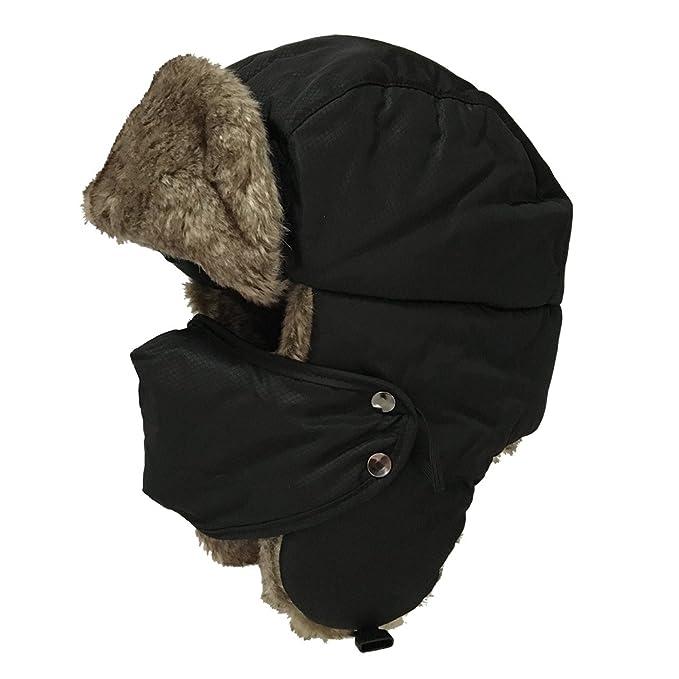 Uomini Donne Inverno Aviatore Cappello Cappuccio Caldo Paraorecchie  Antivento Trapper Bomber (nero) ead470ab57ef