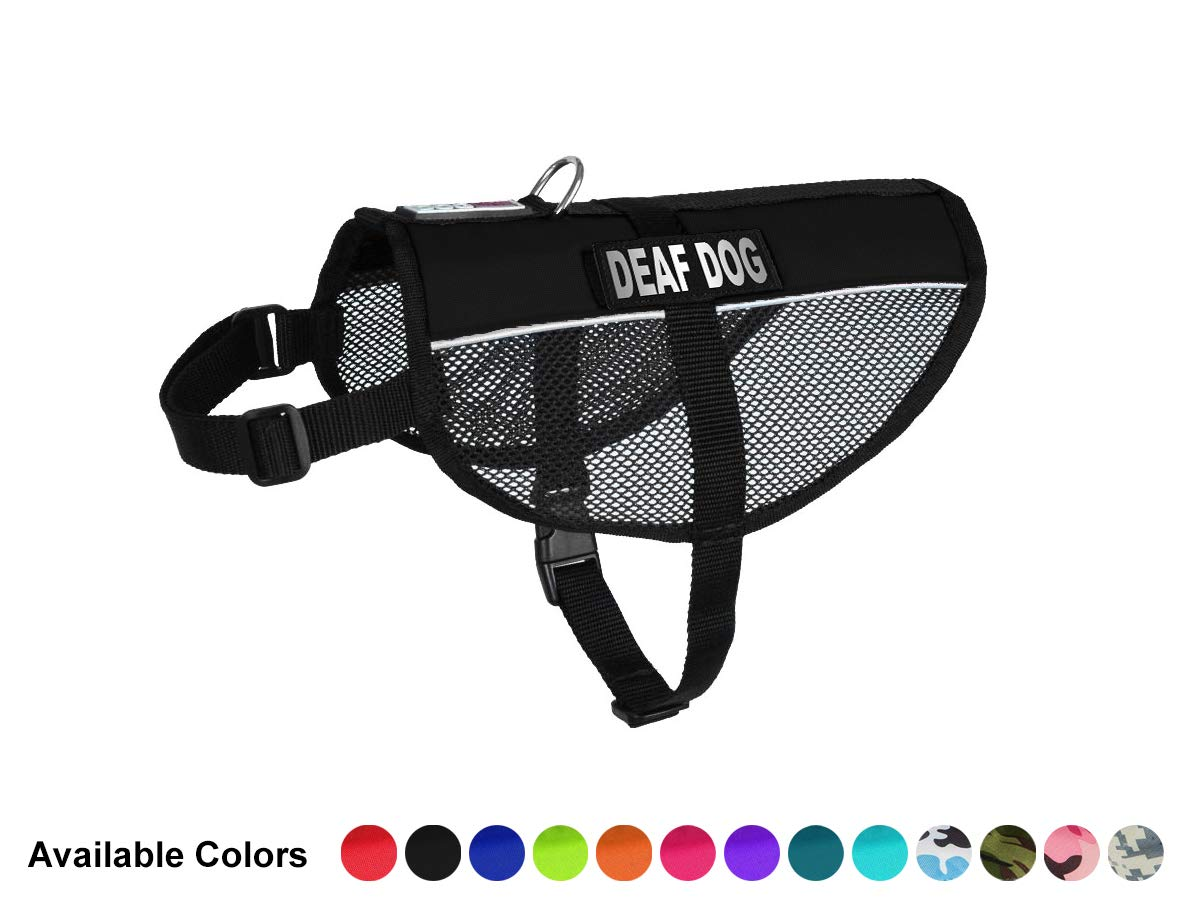 Black 22\ Black 22\ Dogline MaxAire Mesh Vest for Dogs and 2 Removable Deaf Patches, 22 -29 , Black