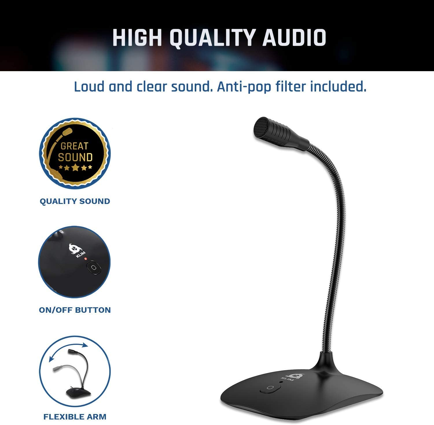 KLIM Talk - USB Desk Microphone for Computer - Compatible with Any PC, Laptop, Mac, PS4 - Professional Desktop Mic with Stand - Recording, Gaming, Streaming, YouTube, Podcast Mics, Studio Microfono: Electronics
