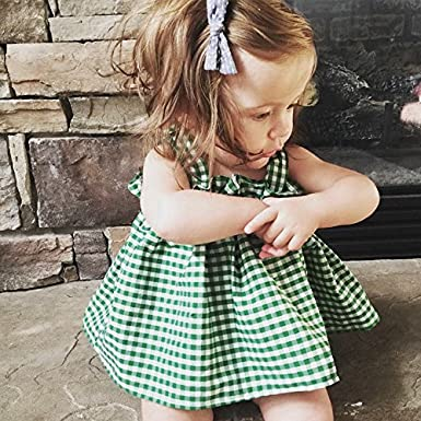 Toddler Baby Girls Halter Top Plaid Ruffle Sleeveless Casual Dress Clothes Outfit AiYannis6