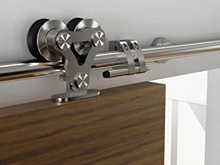 AiHom 2.44m Stainless Steel Sliding Door Barn Track Kit Wood Single Door  Rail Hardware Track System Set: Amazon.co.uk: DIY U0026 Tools