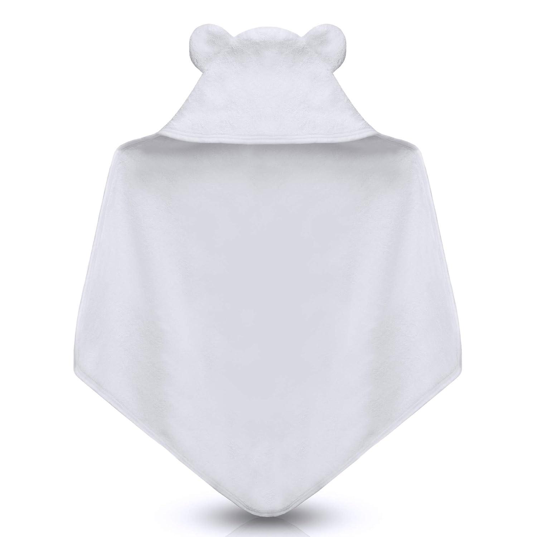 100/% algod/ón toalla de mano y toalla para beb/é para ba/ñarse blanco Blanco Talla:75 x 75 Toalla con capucha para beb/és y ni/ños peque/ños toalla blanca para beb/é con capucha grande y orejas dulces