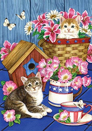 Toland Home Garden Patriotic Kitties 28 x 40 Inch Decorative Spring Summer Kitty Cat Flower House Flag