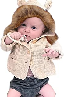 Pollyhb Baby Girls Boys Knitted Coat,Baby Fur Collar Hooded Tops Warm Winter Coat