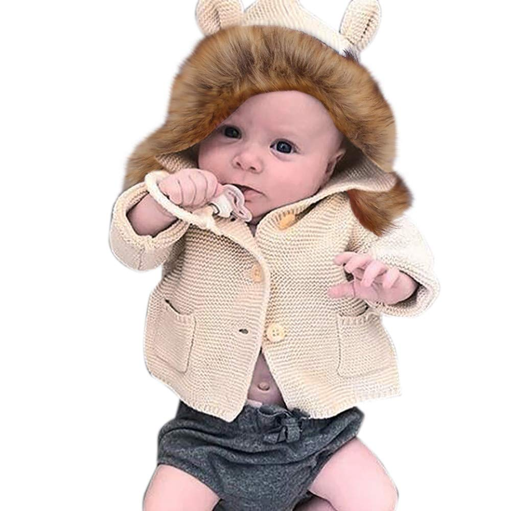Dingji Toddler Baby Boys Girls Coat Fur Collar Hooded Knitted Warm Casual Tops