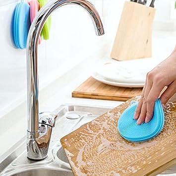 Esponja de limpieza suave antibacteriana para ollas y sartenes, 2 unidades 11 * 11cm azul: Amazon.es: Hogar