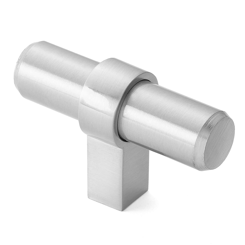 Cauldham 10 Pack Solid Kitchen Cabinet Bar Handle Pulls - Drawer/Door Hardware Knobs - Style B525 - Satin Nickel