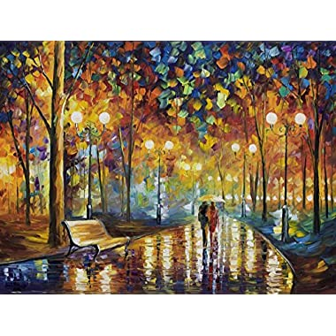 Leonid Afremov Original Image From Painting Rains Rustle Print On Artistic Cotton Canvas, Size: 30 X40