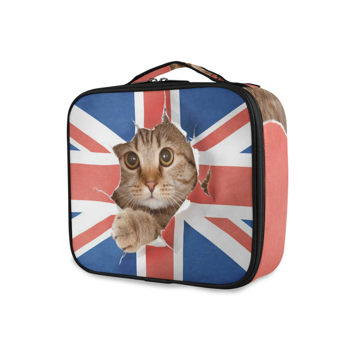 Cat Kitten British UK Flag Travel Makeup Train Case Portable Organizer Cosmetic Bag for Women