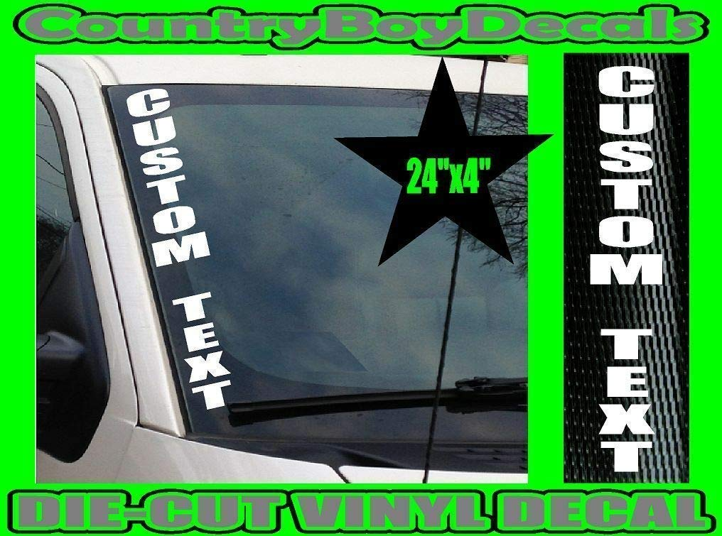 BOOSTED with TURBO 24x4 VERTICAL Windshield Vinyl Decal Sticker Boost Truck Car