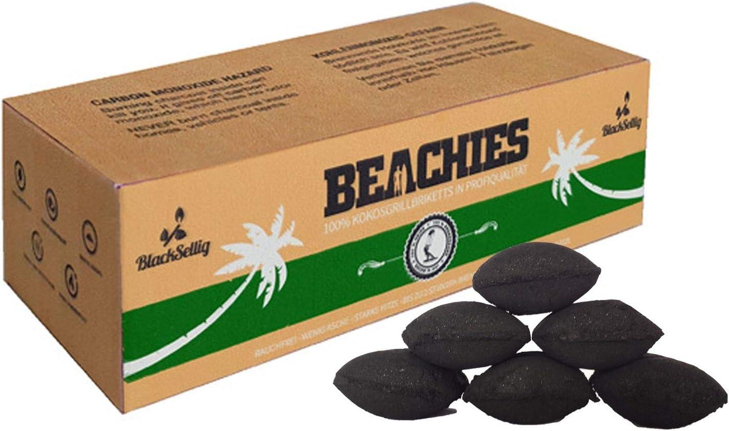 perfekte Profiqualit/ät f/ür den Short Job BlackSellig 20 Kg Beachies Kokos Grill Briketts Reine Kokosnussschalen Grillkohle