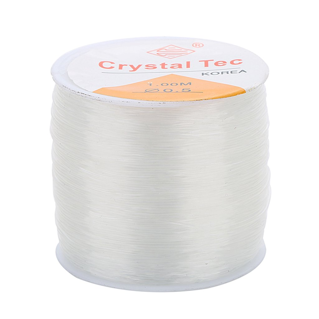 Homyl 1 Roll 100 Meter 0.6mm Strong & Stretchy Cord Clear Crystal Elastic Thread Beading String for Craft Bracelet Necklace Making