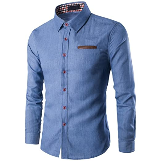 Camisas hombre Los hombres bolsillos de coser de algodón camisa de manga  larga camisetas de mezclilla 4299b098df015