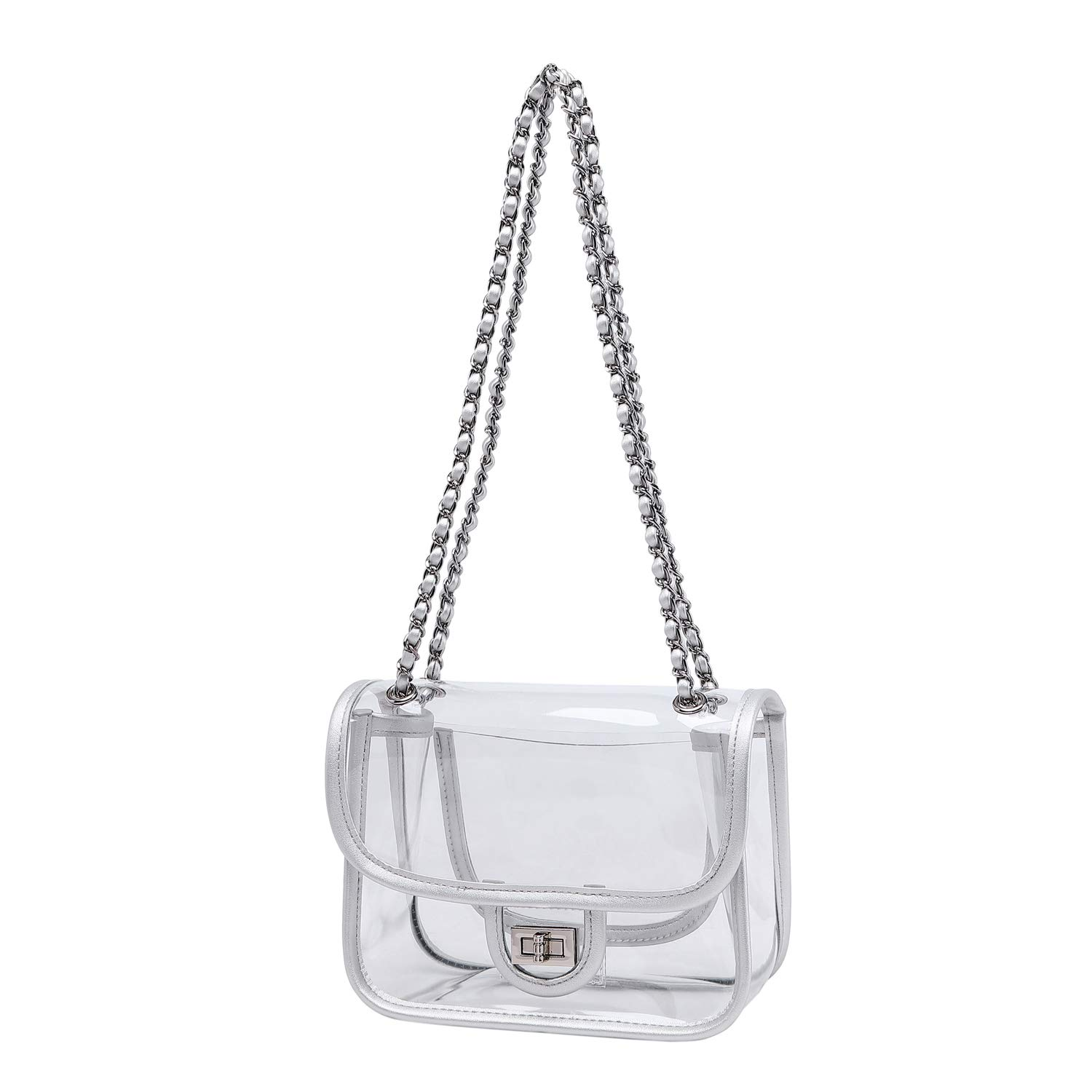 ویکالا · خرید  اصل اورجینال · خرید از آمازون · Lam Gallery Womens PVC Clear Purse Handbags for Working NFL Stadium Approved Bag Turn Lock Chain Shoulder Bag (Silver Hardware)(Small Silver) wekala · ویکالا