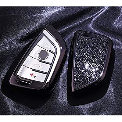 Royalfox(TM) Luxury 3 4 Buttons 3D Bling Smart keyless Entry Remote Blade Key Fob case Cover for BMW 1 2 3 5 7 M Series,BMW X1 X3 X4 X5 X6,with Keychain (Black)