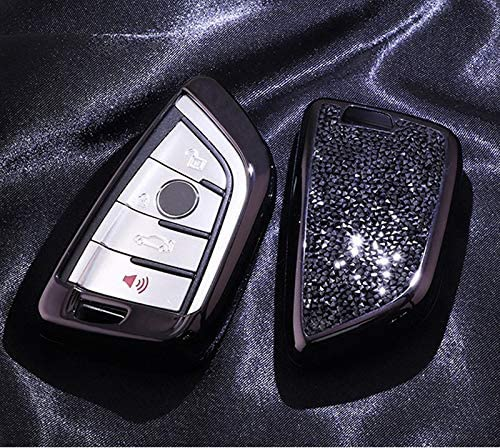 Luxury 3 4 Buttons 3D Bling Smart keyless Entry Remote Blade Key Fob case Cover for BMW 1 2 3 5 7 M Series,BMW X1 X3 X4 X5 X6,with Keychain Royalfox Black TM