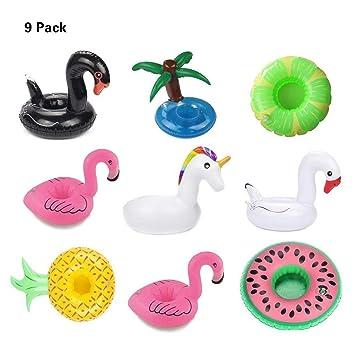 Formemory 9 Aufblasbare Cup Seat Cup Coaster Becherhalter Einhorn Flamingo  Palm Island Donut Fruit Cartoon Aufblasbare