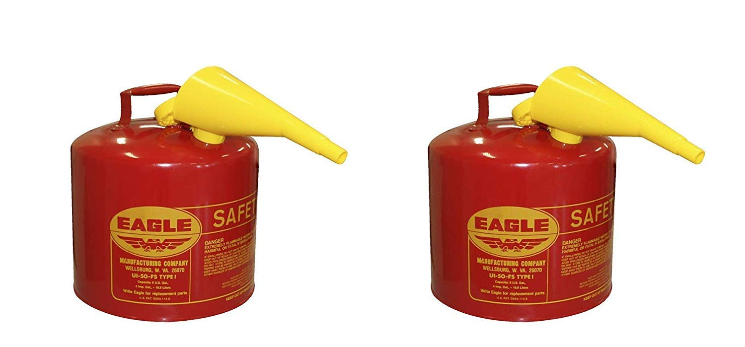 Eagle UI-50-FS Red Galvanized Steel Type I Gasoline Safety Can with Funnel, 5 Gallon Capacity, 13.5'' Height, 12.5'' Diameter (Pack of 2)