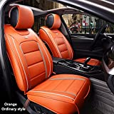 HUKOER ( Front + Rear ) Special Leather car seat covers For Hyundai solaris ix35 i30 ix25 Elantra accent tucson Sonata auto accessories (Orange, Ordinary Style)