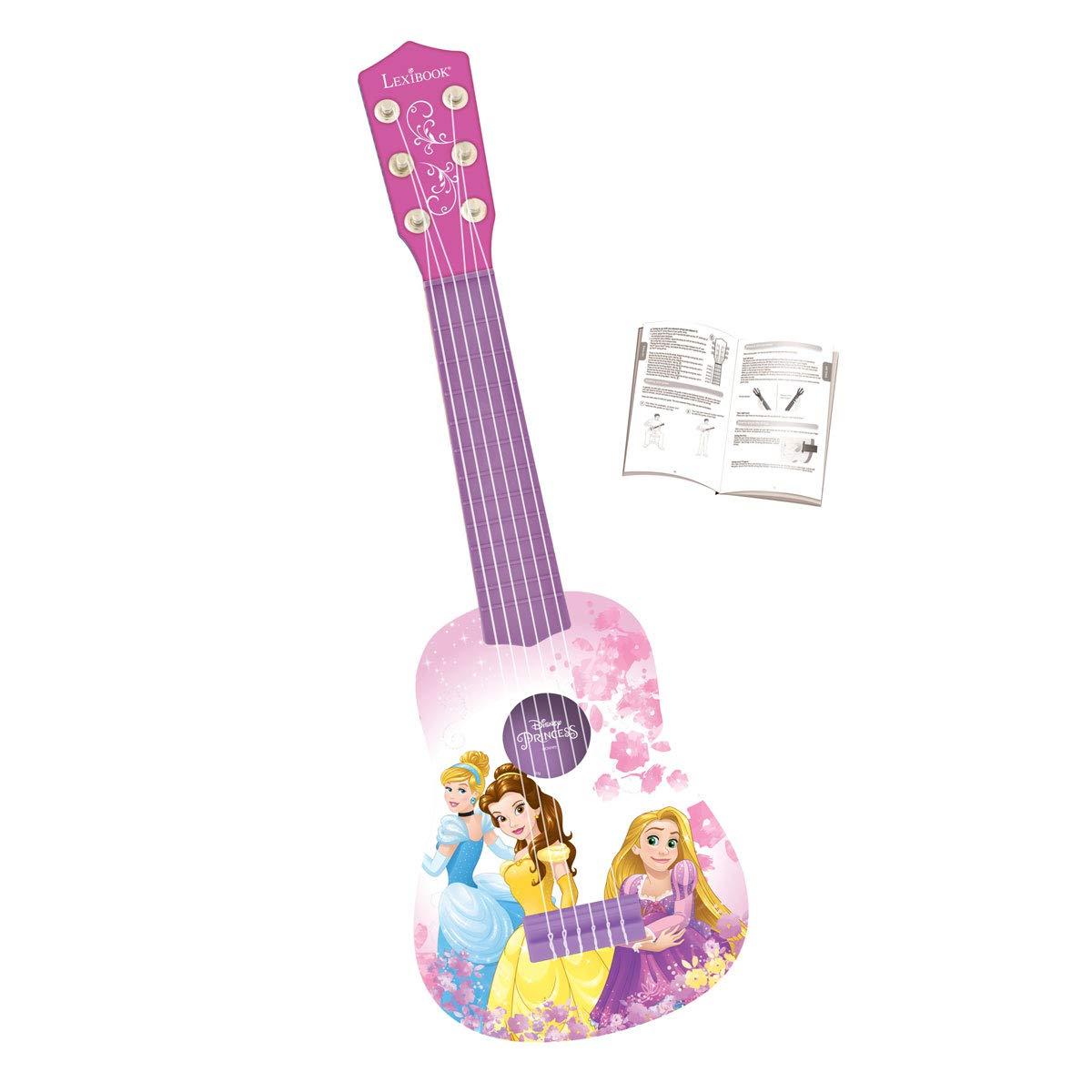 Lexibook Disney Princess Rapunzel My First Guitare Pink // Purple K200DP 53 cm 6 Nylon Strings Guide Included