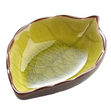 Cuencos Plato Condimento para Vinagre Salsa Especias Azúcar Forma de Hoja Cerámica - Amarilla