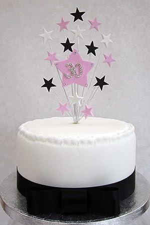 karens cake toppers dcoration de gteau danniversaire 30 ans rose noir et blanc - Gateau Anniversaire 30 Ans