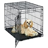 "Dog Crate | MidWest Life Stages 30"" Heavy Duty Folding Metal Dog Crate w/Divider Panel, Floor Protecting Feet & Leak-Proof Plastic Tray 
