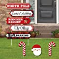 North Pole Street Sign Cutouts - Holiday & Christmas Yard Signs and Decorations - Set of 8
