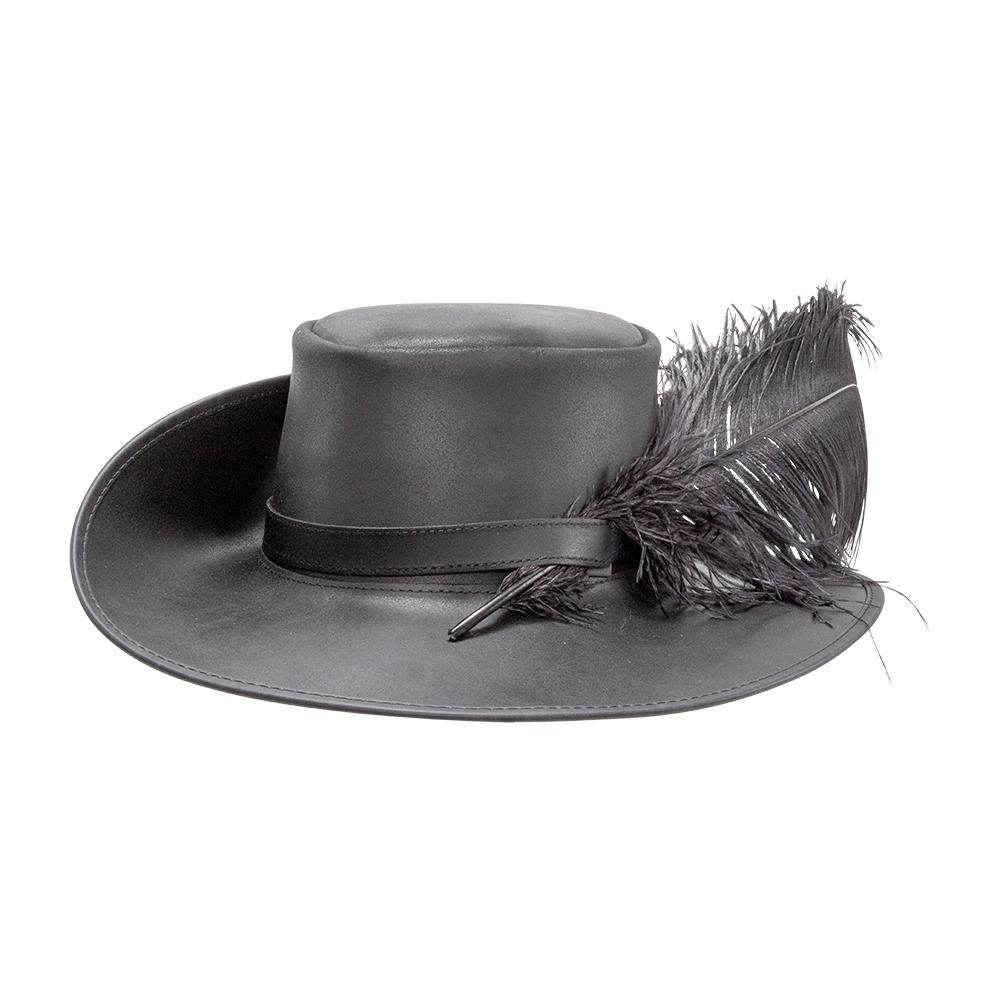 Men's Cavalier-Musketeer Black Leather Feathered Hat - DeluxeAdultCostumes.com