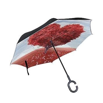 leisisi hermosa forma de corazón árbol Reverse paraguas diseño doble capa resistente al viento UV Protección