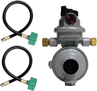 Fairview RV Camper LP Propane 2 Stage Automatic Regulator with 2 x 15 QCC Acme Pigtails