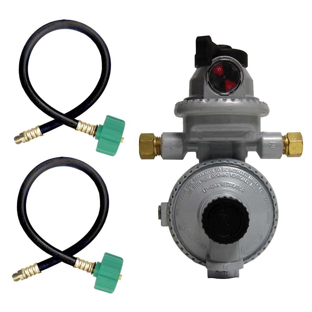Fairview RV Camper LP Propane 2 Stage Automatic Regulator with 2 x 15'' QCC Acme Pigtails