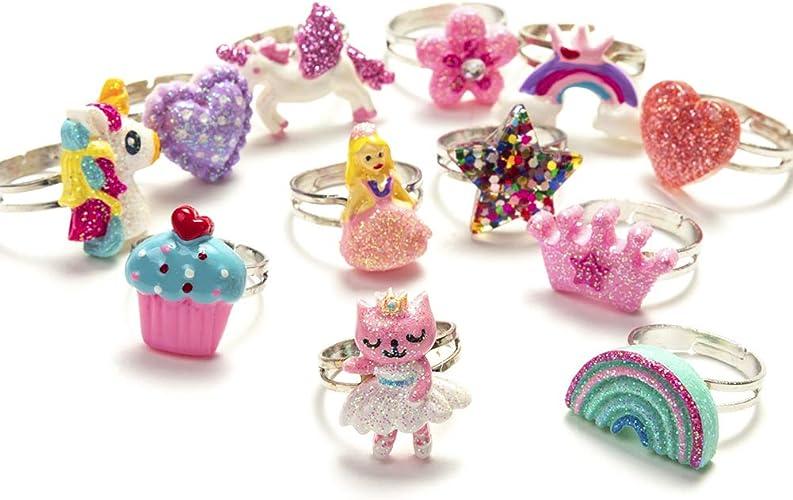 Bague licorne arc-en-ciel Lot de 12 bagues papillon pour enfant fleurs R/églable pour petites filles style 1 amour