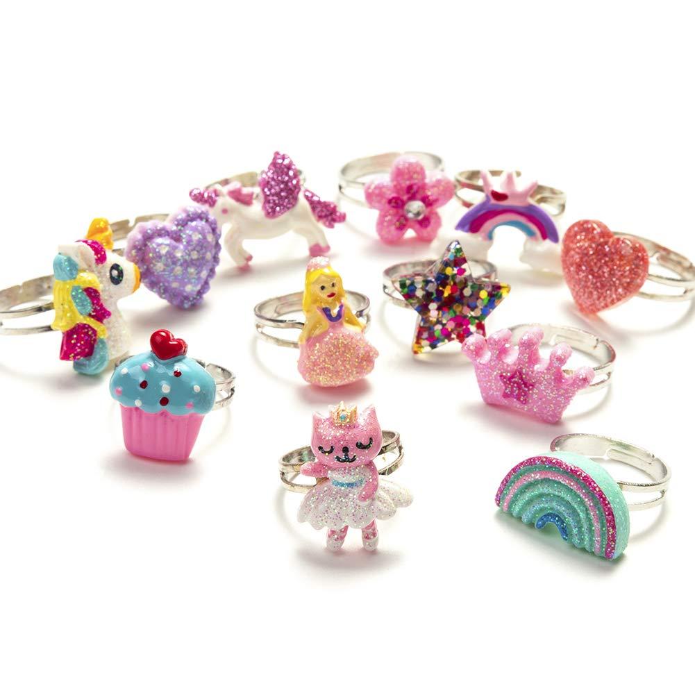 12Pcs Bague Papillon pour enfant-Bague Licorne arc en ciel pour jeune enfant-Ensemble de bijoux ajustable pour jeune fille-A1