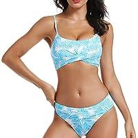 AS ROSE RICH Women's 2 Piece Swimsuit Push Up Padding Top High Waist V Style Bottom Leaf Print Bikini Set